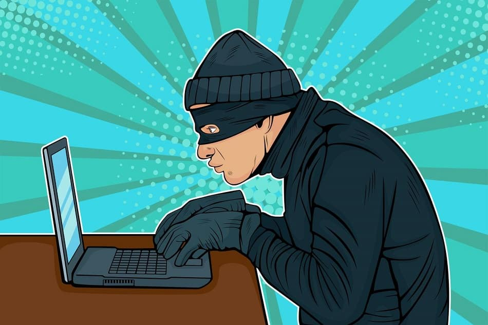 caucasian hacker thief hacking into a computer vector min 1