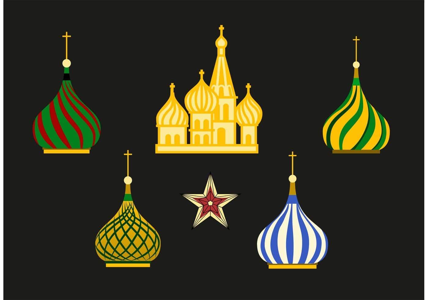 russia kremlin vector set min