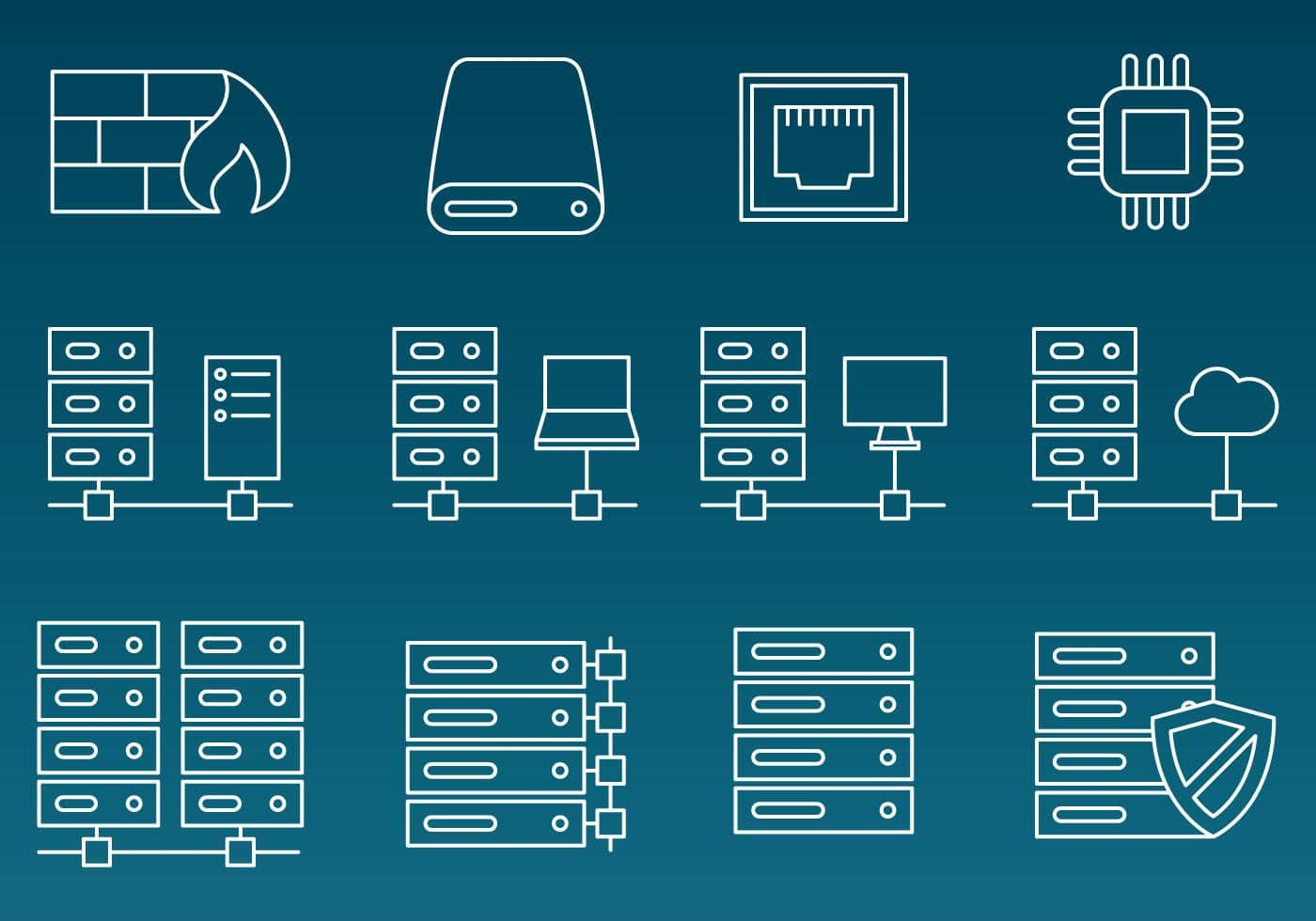 server rack vector line icons min